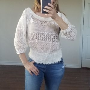 Annalee + Hope White Cream Lace 3/4 Sleeve Top